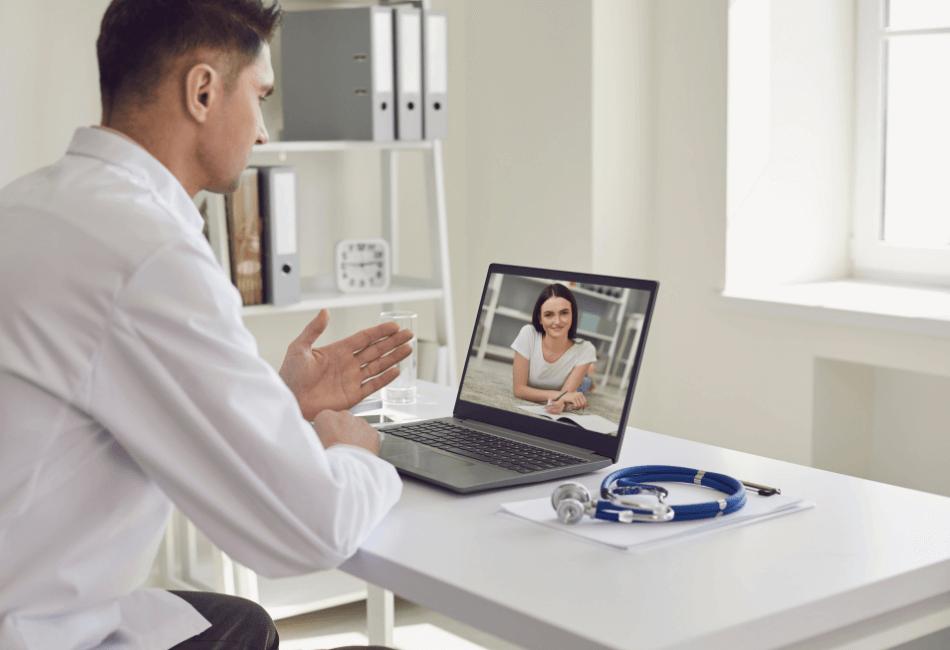 Doctor working online